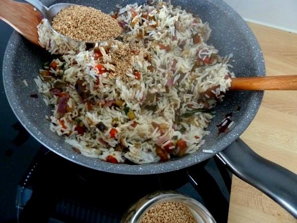 aubergine poivron gingembre au riz