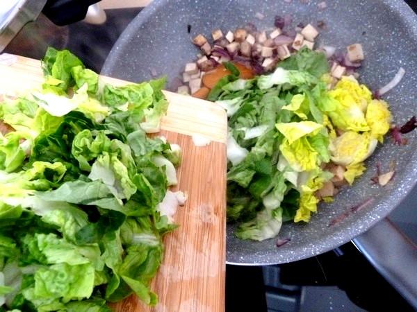pates au tofu fume salade champignons