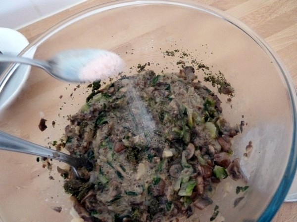 galette champignons salade lin tournesol