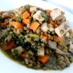 lentilles aux légumes et tofu fumé